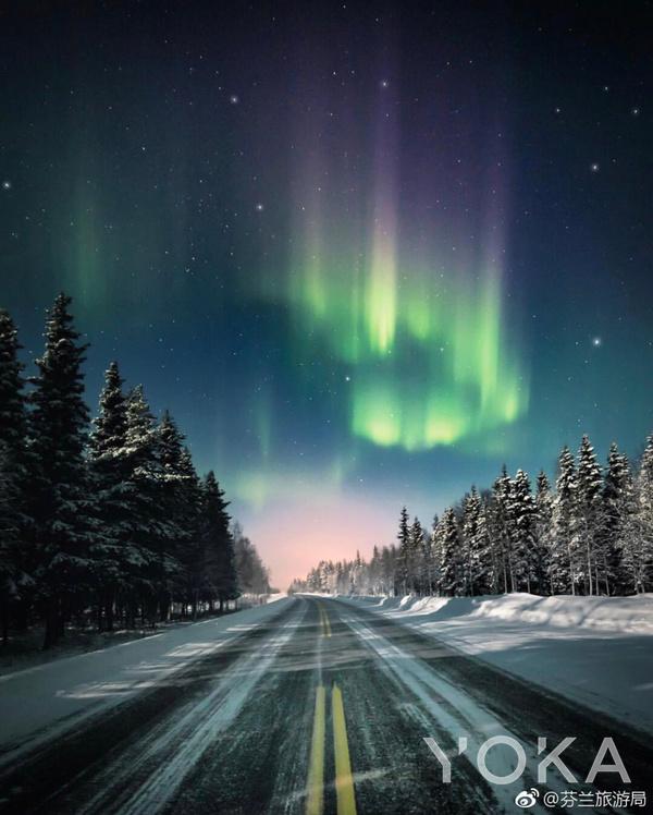 芬兰的极光  图片来自微博@芬兰旅游局