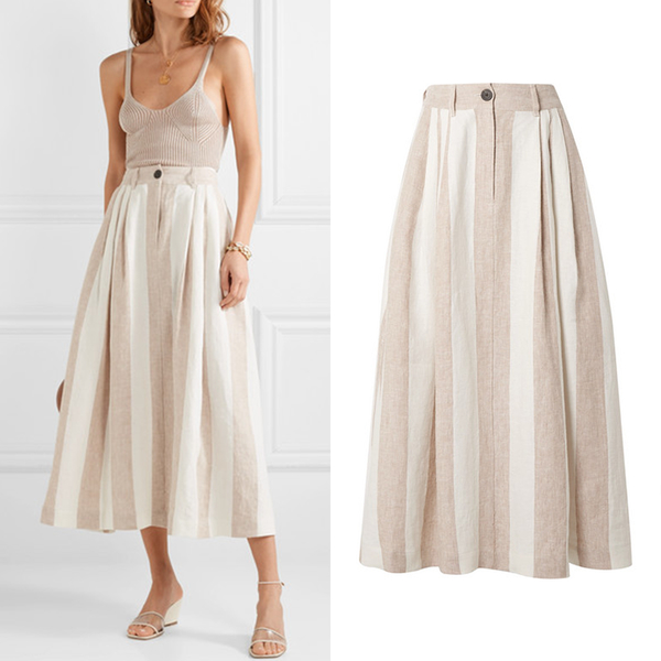 MARA HOFFMAN Tulay 条纹亚麻中长半身裙3669元
