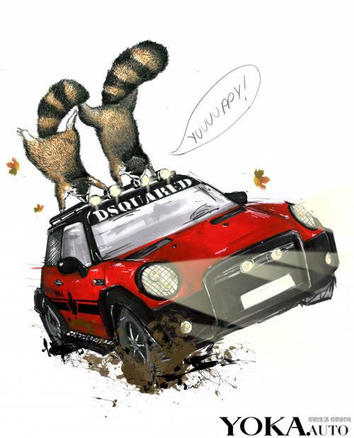 MINI携手Dsquared²(迪赛尔)意大利服饰品牌所发布的MINI Cooper Red Mudder特别版车型