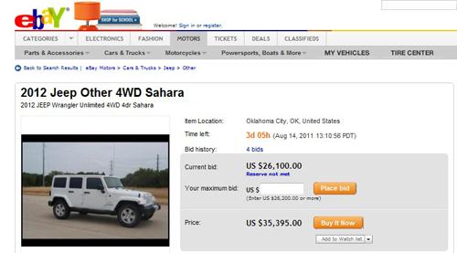 22.89万元预售价 eBay发布2012款牧马人