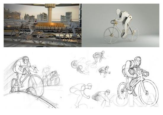 E7茄同轴机芯3D宣传片自行车比赛设计稿