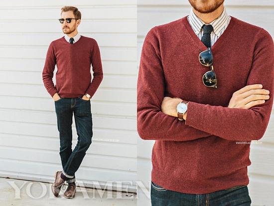 红色的毛衣搭配条纹衬衫